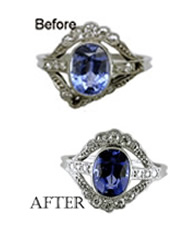 Before & after repair - Sapphire ring